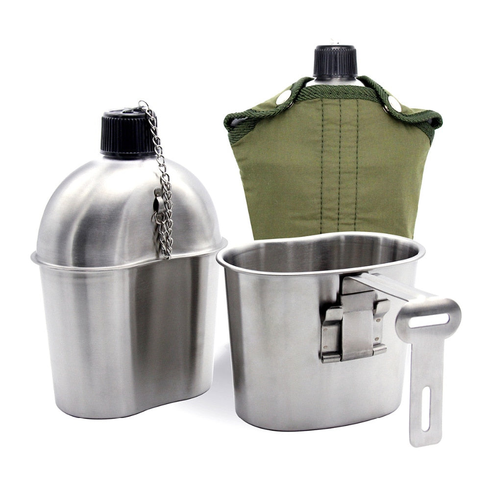 Premium 1L Stainless Steel Military Canteen Portable