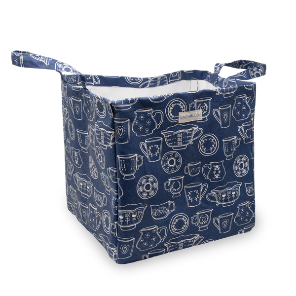 Acrylic Coated Laundry Bag - Cup & Saucer - Navy
