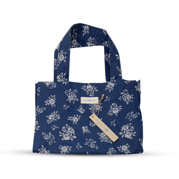 Acrylic Coated Lunch Bag - English Rose - Navy