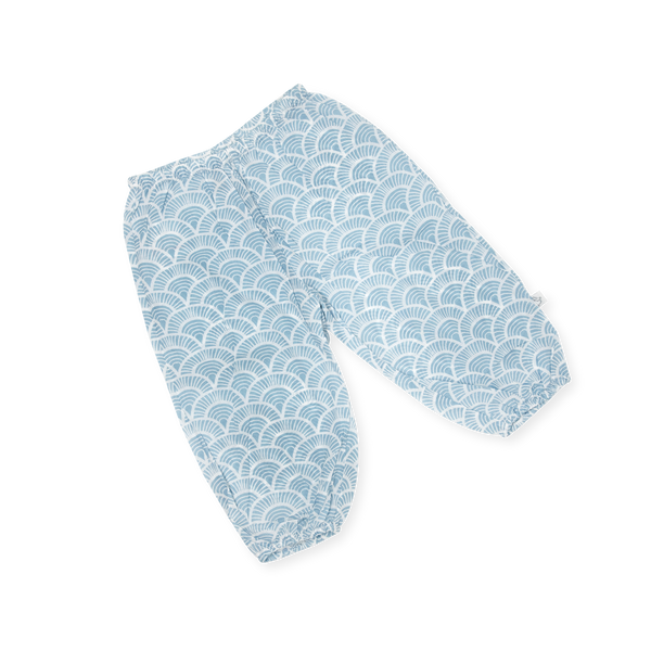 Handprinted  Organic Voile Pants - Art Deco - Blue
