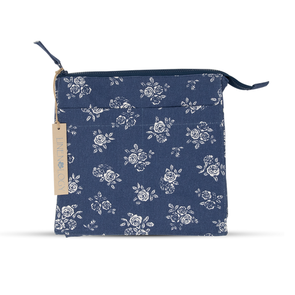Wash Bag Tall - English Rose - Navy