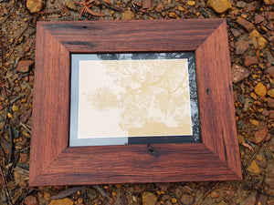 9cm frame with 2 cm black mat in Australian recycled timber in many sizes.