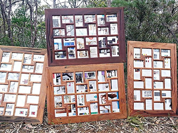 Recycled Timber Unique Collage Multi Photo Frame with 24 Photo Openings