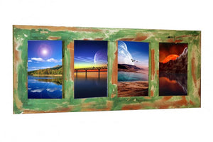 Funky Vintage Rustic Green recycled timber 4-opening photo frame for A4 size pictures