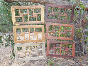 Australian Recycled Timber 8 opening family photo collage frames, rustic, browngum, redgum