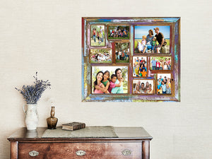 Multi Coloured Multi-opening Recycled Wooden Family Picture Frame