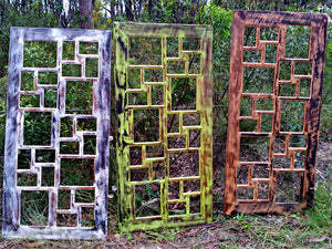 Funky Recycled and Painted Timber Multi-photo Frames with openings.