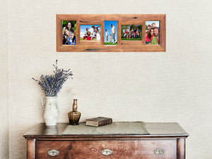 Recycled Timber Family Photo frame with 5 opening slots Eco Friendly made in Australia