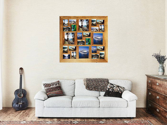 1mx1m Large Square Timber Multi Photo Frame for 24 photographs