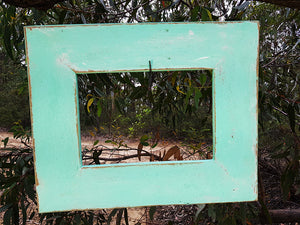 Aqua Coloured Painted Recycled Timber Picture Frame size A4