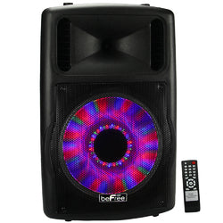beFree Sound 12 Bluetooth Portable Speaker with Sound/Volume Reactive Lights USB and SD Inputs