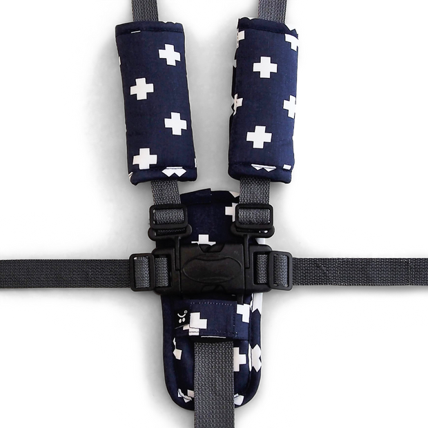 Harness Cover Set - Navy Crosses - Outlook Baby