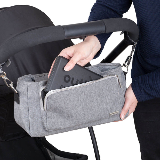 Outlookbaby Pram Caddy with shoulder strap – Grey Melange