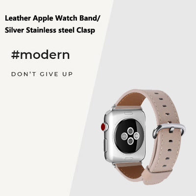 Leather Apple Watch Band with Silver Stainless steel Clasp