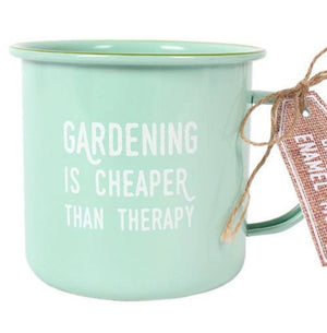 Enamel Mug - Gardening is Cheaper than Therapy - The Wild Tree