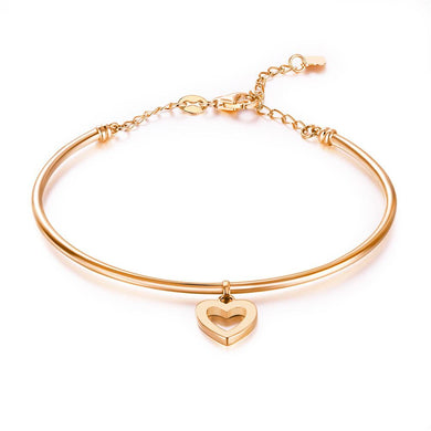 Solid 18K/750 Rose Gold Hollow Heart Bracelet