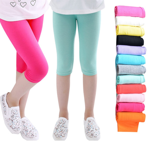 3-10years Girls Knee Length Kid Five Pants Candy Color Children