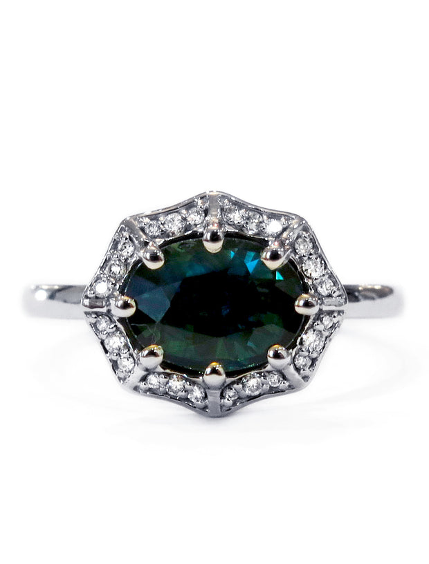 Carlotta Geometric Sapphire Halo with Diamond Accents by Dana Walden Chin & Rad Chin