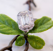Custom Emerald Cut Diamond Engagement Ring in Halo Setting with Baguette & Round Diamonds in Platinum