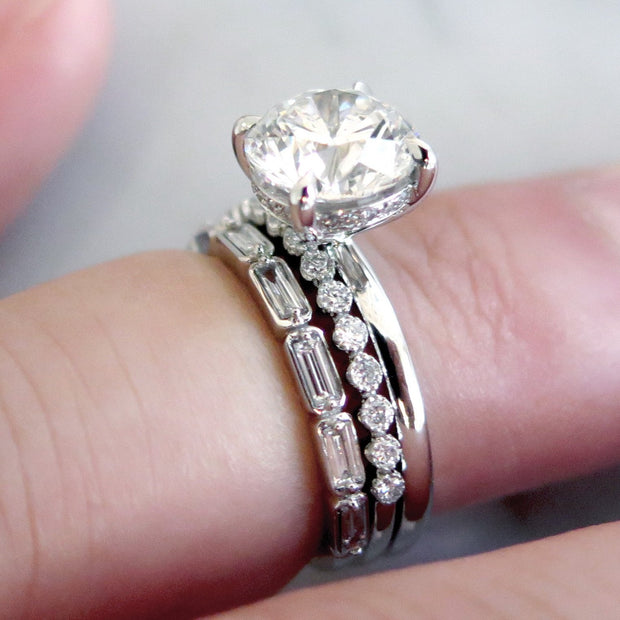 Delicate Diamond Solitaire with Thin Stacking Diamond Bands in White Gold