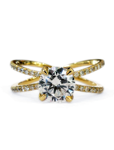 Tilda unique criss cross x diamond engagement ring in yellow gold with conflict-free diamonds