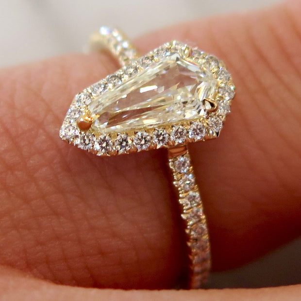 Silvana Unique Custom Geometric Halo Engagement Ring in Yellow Gold Conflict Free Diamonds NYC