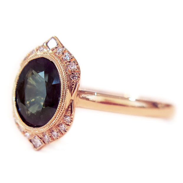 Tillary 18k Rose Gold & Teal Sapphire Engagement Ring Halo by Dana Walden Bridal - Side Profile
