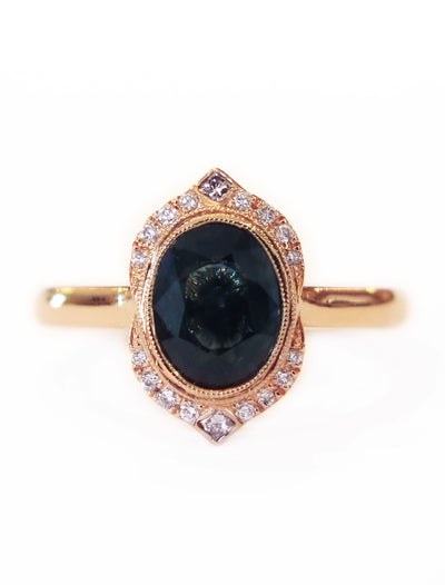 Tillary Green Blue Sapphire Halo Engagement Ring in 18k Rose Gold by Dana Walden Bridal in NYC
