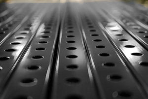"1"" x 1"" perforated square steel tube is a 16 gauge mild steel with a powder coated finish available in standardized 6"" precut lengths up to 120"" long."