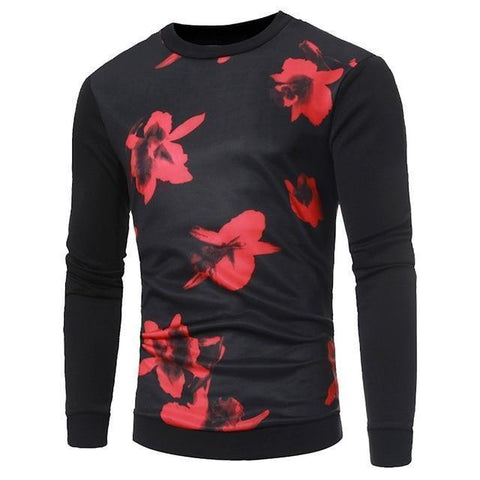 Men's Floral Long Sleeve Shirt - 1 Color-Men's Long Sleeve Shirts-Ambitious Athletic Goods