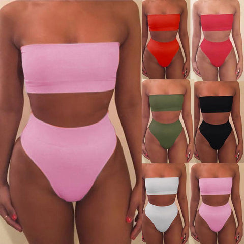 Women's Solid Bikini Swimsuit | Wire Free Bandage Top | 6 Colors-Women's Bikini Swimsuits-Ambitious Athletic Goods