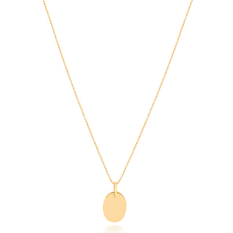 Gold oval pendant necklace