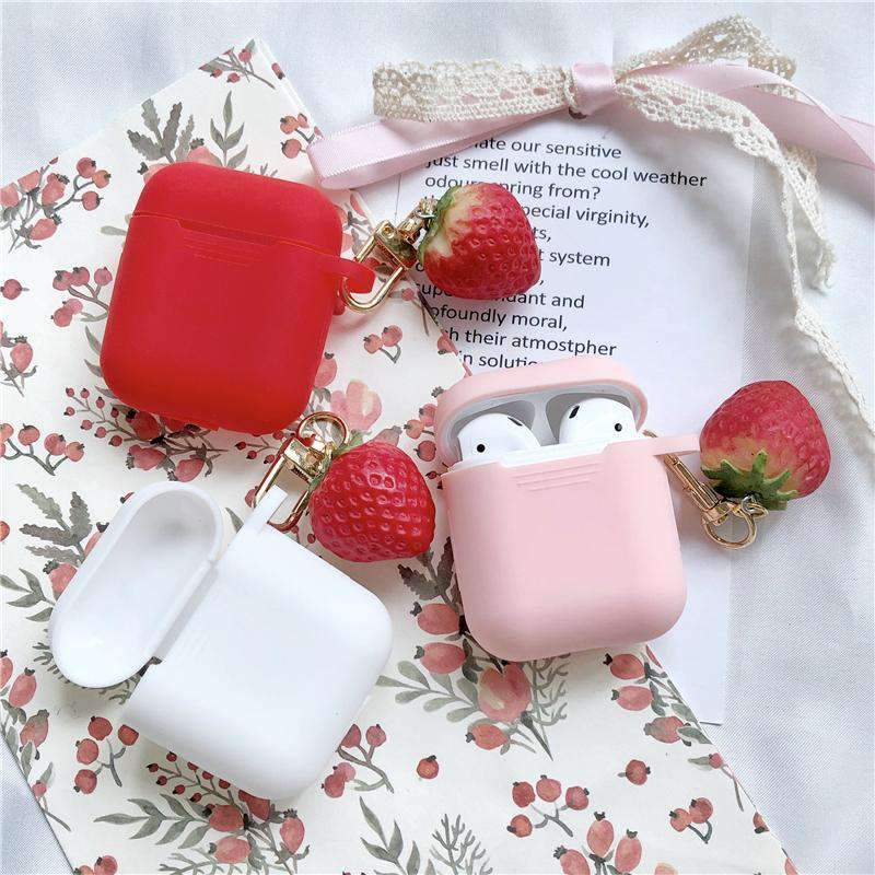 Cute Strawberry Silicone Protective Cover Case for Apple AirPods