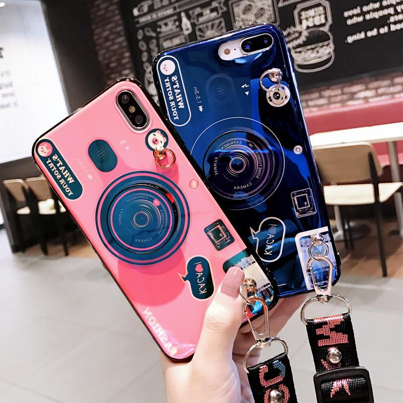 Retro Camera Pattern Phone Case for Samsung with Phone Holder and Strap