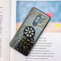 Transparent 3D Vibe Diamond Feel Case For Samsung With Glittering Phone Holder
