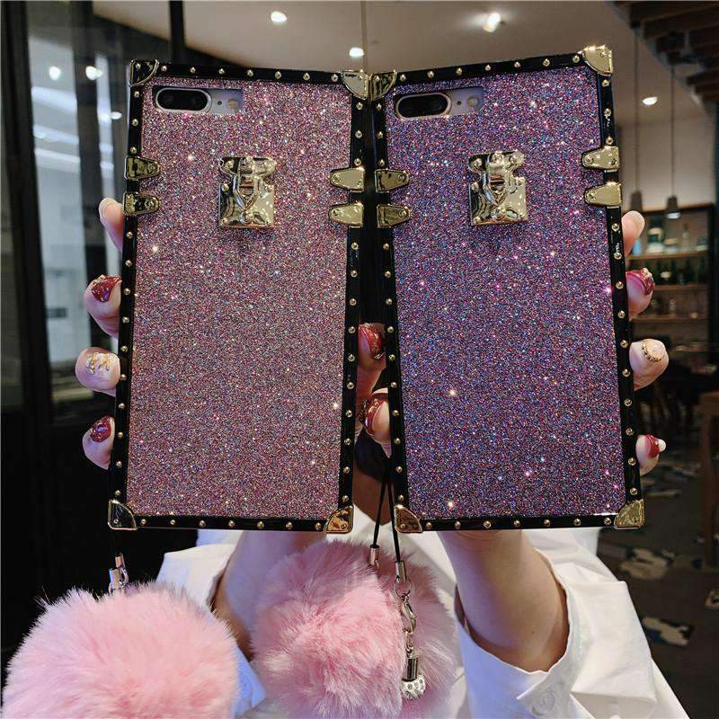 Luxury Blinking Square Phone Case for Samsung with Strap and Fuzzy Furry Plush Ball
