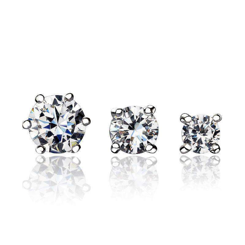 Classic Silver Round Cut Stud Earrings