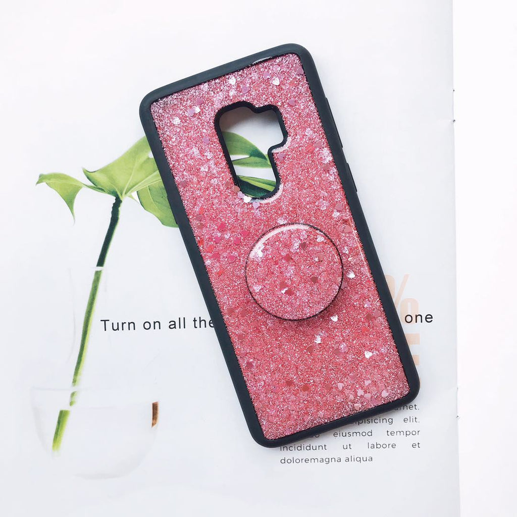 Glitter with Random Foils Epoxy Phone Case for Samsung with Phone Holder