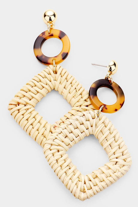 Raffia Diamonds Light Natural Earrings