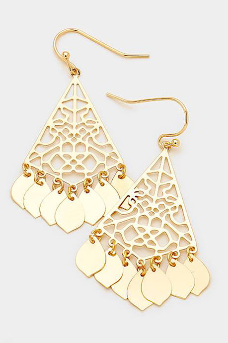 Dangle Fringe Earrings Gold