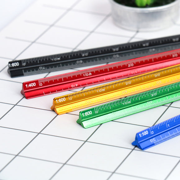 colourful aluminium triangular ruler