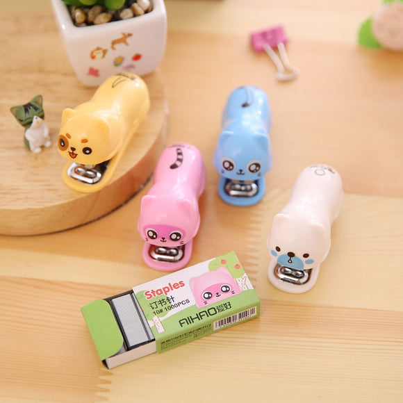 Cute dog and cat mini stapler
