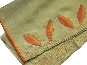 Autumn Leaves Hand-Appliqued Silk Stole