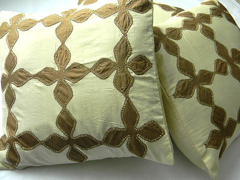 Earthen Envy - Patch Work Pure Silk Cushion
