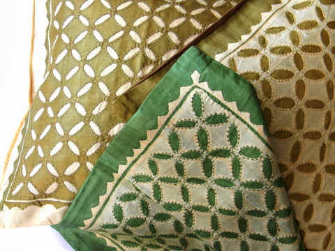 Green With Envy - Patch Work Pure Silk Cushion Cover