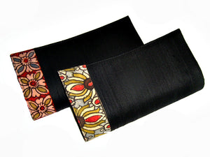 Black Floral Raw Silk Clutch