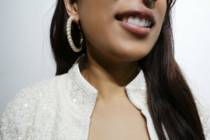 Pearl & Gold Hoop Earrings