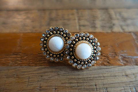 Regal White Stud Earrings