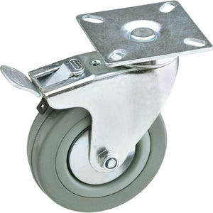 "3"" Gray Rubber Swivel Caster, Plate Mount with Double Lock"