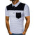 Men's Polo Turn-down Collar Short Sleeve Shirts with Buttons Men Casual Patchwork Basic Tee